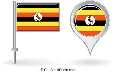 Uganda pin icon and map pointer flag. Vector illustration.