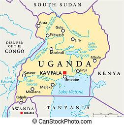 uganda, político, mapa