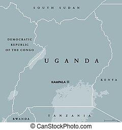 Uganda political map with capital Kampala. Republic in East...