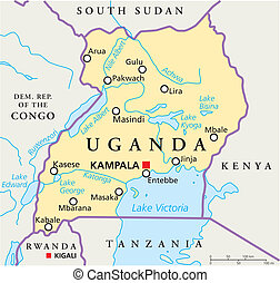 Political map of Uganda with capital Kampala, with national borders, most important cities, rivers and lakes. Illustration with English labeling and scaling.