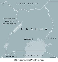 Uganda political map with capital Kampala. Republic in East...