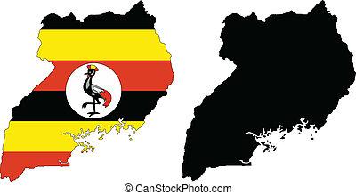 uganda - vector map and flag of Uganda with white...