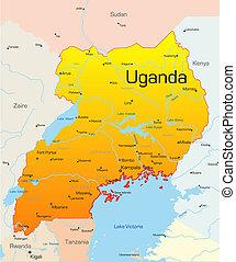Uganda  - Abstract vector color map of Uganda country
