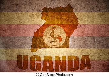 uganda vintage map - uganda map on a vintage ugandan flag...