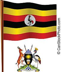 uganda wavy flag and coat of arm against white background,...
