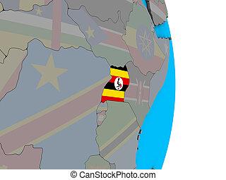 Uganda with flag on 3D globe