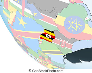 Uganda with flag on globe