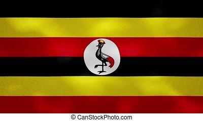 Uganda dense flag fabric wavers, perfect loop for background