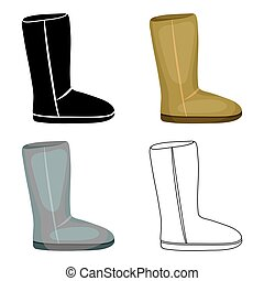 Ugg boots icon in cartoon style isolated on white background. Shoes symbol stock vector illustration.