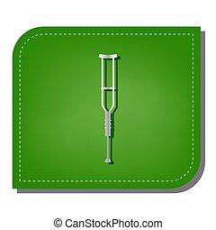 uggia, argento, ecologico, apparecchiatura, crutches, ripristinato, leaf., segno., linea, verde, illustration., scuro, icona, pendenza