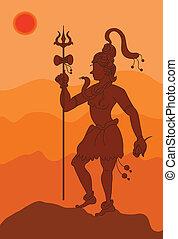 uggia, arte, shiva, il, dio indù