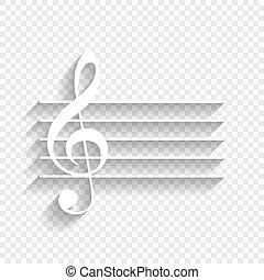 uggia, g-clef., segno., fondo., chiave, musica, vector., violino, bianco, morbido, trasparente, icona