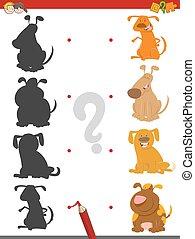 uggia, gioco, cani, cartone animato