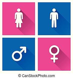 uggia, maschio, femmina, icone