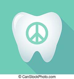 uggia, segno pace, lungo, dente