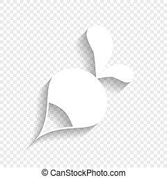 uggia, semplice, ravanello, segno., fondo., vector., bianco, morbido, trasparente, icona
