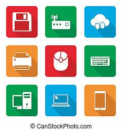 uggia, set, icone tecnologia