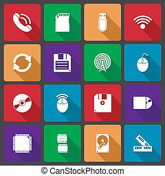 uggia, set, tecnologia, lungo, icone