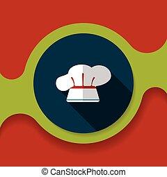 uggia, utensili cucina, chef, icona, cappello, eps10, appartamento, lungo