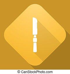 uggia, vettore, coltello, lungo, icona
