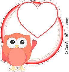 uggla, heart., valentinbrev, vektor, flicka, helgdag, kort
