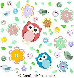 ugle, børn, colourful, seamless, mønster