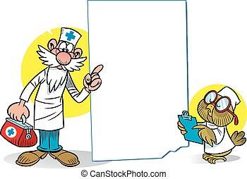 ugle, cartoon, doktor