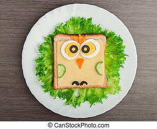 ugle, lille barn, billede, sandwich, mad., kreative, ...