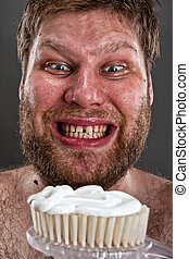 Ugly brushing teeth - Ugly man preparing to brushing teeth