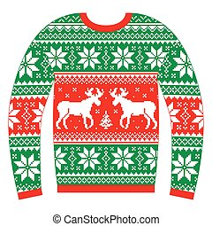 Traditional Xmas jumper design isolated on white