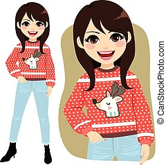 Beautiful young happy face expression woman standing with ugly reindeer Christmas sweater