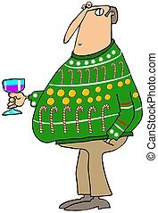 Ugly Christmas sweater - Illustration depicting a man...