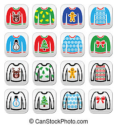 Ugly Christmas sweater on jumper bu - Vector button set of...