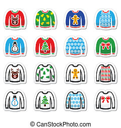 Ugly Christmas sweater on jumper ic - Vector icon set of...