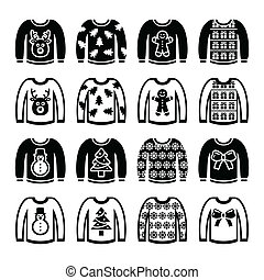 Ugly Christmas sweater on jumper - Vector icon set of jumper...