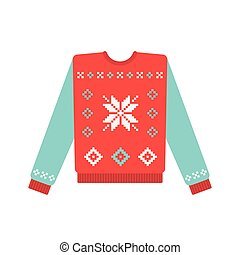 Ugly christmas sweater with snowflake pattern. Vector