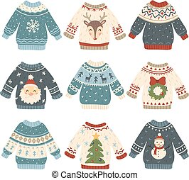 Ugly christmas sweaters. Cartoon cute wool jumper. Knitted winter holidays sweater with funny snowman, Santa and Xmas tree vector set