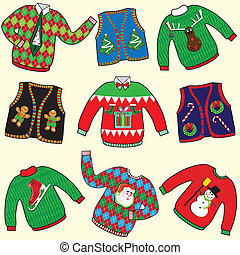 Dare to Wear ugly Christmas Sweaters and vests clip art