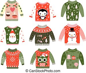 Ugly Christmas sweaters in red and green - Cute kawaii...
