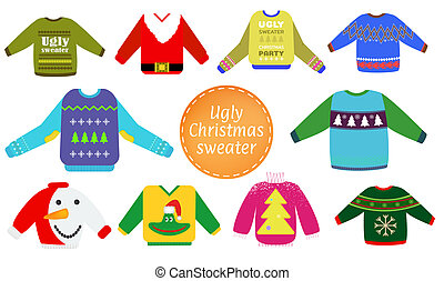 Ugly Christmas sweaters vector set