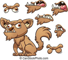 Ugly cartoon dog with different mouth poses. Vector clip art illustration with simple gradients. Some elements on separate layers.