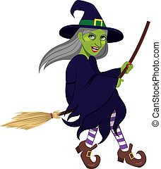 Ugly Green Witch Flying