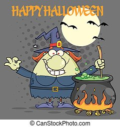 Ugly Halloween Witch Cartoon Mascot Character Preparing A Potion In A Cauldron