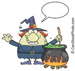 Ugly Halloween Witch Cartoon Mascot Character Preparing A Potion In A Cauldron With Blank Speech Bubble