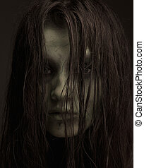 Ugly horror girl - Close up portrait of a demon. Zombie make...
