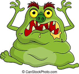 Ugly monster cartoon - Vector illustration of ugly monster...