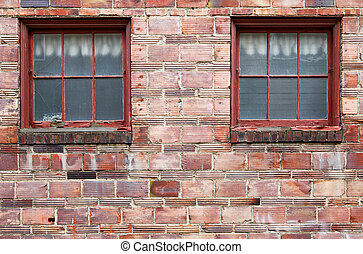 Ugly Old red brick wall windows