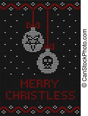 Ugly sweater knitted design in black, red and white colors. Christmas balls decorated with a pentagram and a skull.