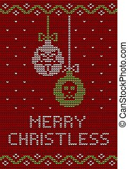 Ugly sweater knitted design in red, green and white colors. Christmas balls decorated with a pentagram and a skull.