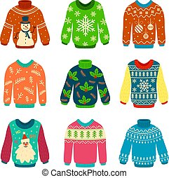 Ugly sweater. Knitted jumpers with christmas patterns, snowman and santa claus. Xmas scrapbook elements vector set